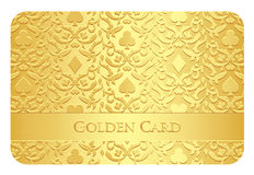 Golden card with card symbols ornament Royalty Free Stock Images
