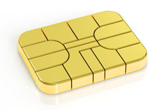 Golden card chip, 3D rendering. On white background Stock Photos