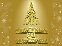 Golden card - christmas and  new year - vector Stock Image