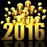 Golden 2016 card. 3d image of 2016 and balloon Royalty Free Stock Photo