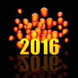 Golden 2016 card. 3d image of 2016 and balloon Stock Photos
