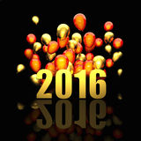 Golden 2016 card. 3d image of 2016 and balloon Stock Photography