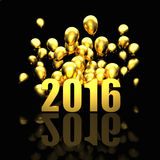 Golden 2016 card. 3d image of 2016 and balloon Stock Image