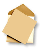 Golden  card and envelope. Golden card and envelope with shadow (clipping path Stock Photography
