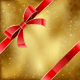 Golden card. Grunge golden card with red holiday bow, illustration Royalty Free Stock Image