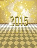 2015 golden card. Happy new year 2015 card with bokeh yellow background Stock Image