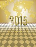 2015 golden card. Happy new year 2015 card with bokeh yellow background Stock Photos