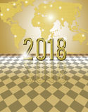 2018 golden card. Happy new year 2018 card with bokeh yellow background Stock Images