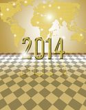 Golden 2014 card. Happy new year 2014 festive card Royalty Free Stock Photo