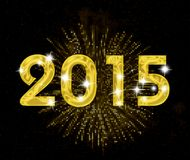 Golden card. Happy new year 2015 card with firework yellow background Royalty Free Stock Photo