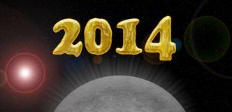 2014 golden card. Happy new year 2014 card, universe theme with planet or moon Royalty Free Stock Image