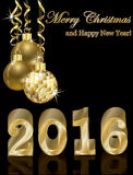 Golden card, Happy new 2016 year, vector. Illustration Royalty Free Stock Images