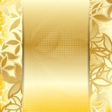 Golden card or invitation template. Stock Image