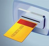 Golden card to teller machine vector illustration