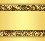 Golden card with vintage floral ornament Royalty Free Stock Photography