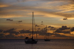 Golden Caribbean Sunset Cruise Royalty Free Stock Photo