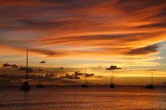Golden Caribbean Sunset Cruise Royalty Free Stock Images