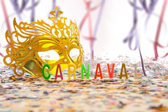 Golden Carnival mask Stock Photography