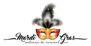Golden carnival mask with black feathers and calligraphic sign Mardi Gras Stock Photography