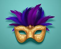 Golden carnival mask. With purple feathers decorations on blue background, 3d illustration
