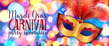 Golden carnival mask with red feathers on colorful bokeh background Stock Photography