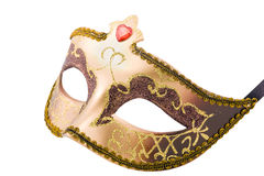 Golden carnival mask  on white with  path Royalty Free Stock Images