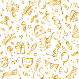 Golden carnival symbols in doodle style on white. Background, vector seamless pattern Royalty Free Stock Images