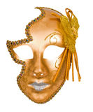 Golden carnival venetian mask. Isolated over white with clipping path Stock Photo