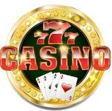 Golden casino banner with brilliants. Vector Golden casino banner with brilliants Royalty Free Stock Photo