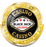 Golden casino banner with brilliants. Vector Golden casino banner with brilliants Stock Images