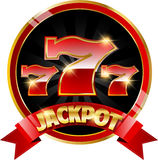 Golden casino banner with jackpot Stock Photography