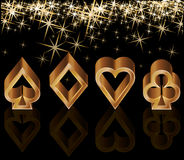 Golden casino card with poker elements Stock Image