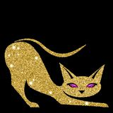 Golden cat with amethyst eyes. Vector illustration. Eps 10 Stock Images