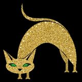 Golden cat with emerald eyes. Vector illustration. Eps 10 Royalty Free Stock Image