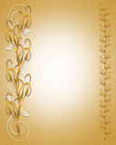 Golden Cat Tails Floral Border. 3D golden cat tails design for frame, border, card, invitation or stationery Royalty Free Stock Photography
