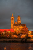 Golden Cathedral of Magdeburg and the river Elbe at sunrise Stock Image