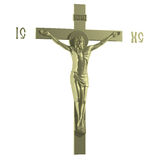 Only Golden Catholic Cross with the Crucifixion. Side view. 3D Render Stock Photo