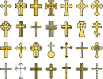 Golden Catholic cross icons. A set of different golden Catholic cross icons on a white background Royalty Free Stock Photography