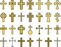 Golden Catholic cross icons Royalty Free Stock Photography