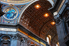 Golden Ceiling of Saint Peter's Basilica. Vatican Inside Beautiful Gold Ceiling Dome of Saint Peter's Basilica in Rome, Italy royalty free stock photos