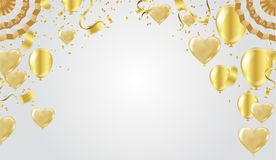 Golden celebration background. Group of gold balloons isolated o. N white background Heart balloons Royalty Free Stock Photo