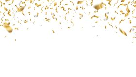 Golden celebration confetti. Falling party ribbons, birthday flying holiday decoration. Realistic anniversary event gold royalty free illustration