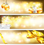 Golden celebration and sales ornament banner backg. Three styles of golden celebration and sales ornament banner background, create by vector Royalty Free Stock Images
