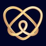Golden celtic heart. On dark blue background Royalty Free Stock Image