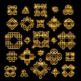 Golden celtic knots with shiny elements isolated on black background. Vector knots icon collection. Ornament for tattoo pattern, gaelic decoration illustration Royalty Free Stock Images