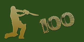 Golden Century Cricket Banner on Green Royalty Free Stock Photography