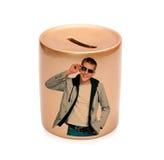 Golden ceramic piggy bank Stock Image