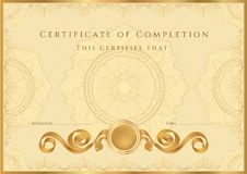 Golden Certificate / Diploma background (template). Gold Certificate of completion (template or sample background) with guilloche pattern (watermarks), borders royalty free illustration