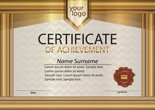 Golden certificate or diploma template with wax seal. Gold frame Royalty Free Stock Photos