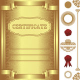 Golden Certificate Template with additional elements. Stock Photos